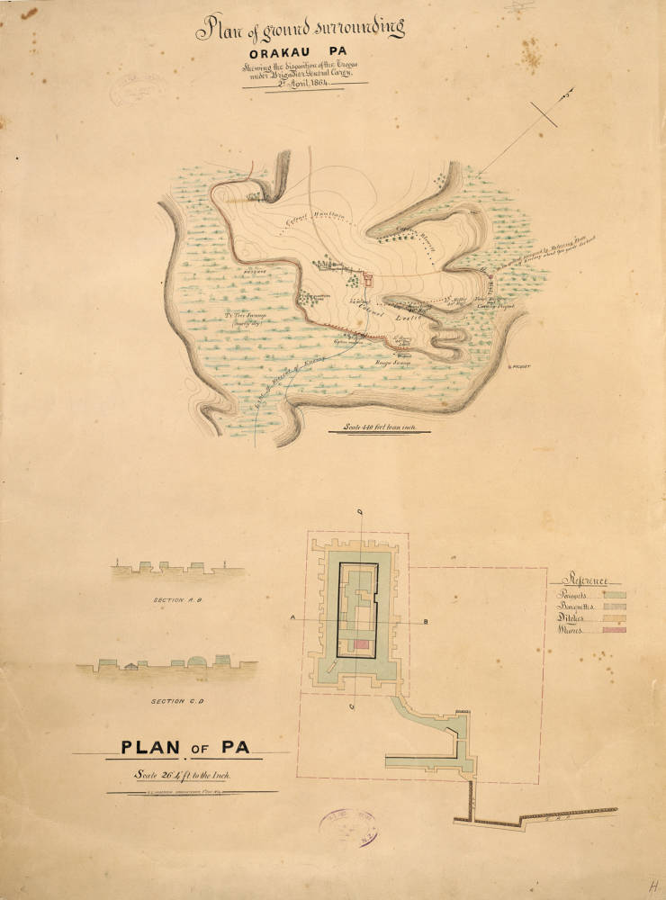 Plan of ground surrounding Orakau Pa, shewing the disposition of the troops under Brigadier General Carey, 2nd April 1864 [and] Plan of Pa [by] Robert S. Anderson 8th July 1864