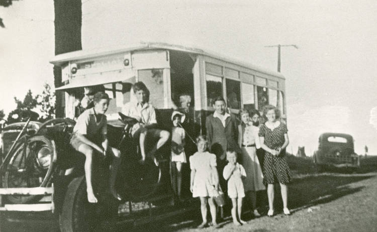 The Albany School bus on picnic day.