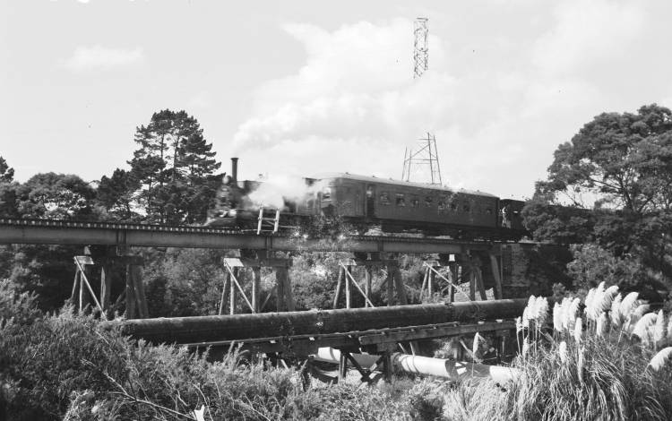 Meg Merrillies on railway bridge, Whau Creek.