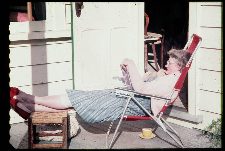 Alethea Rowntree relaxing at 144 Gillies Avenue, 1958