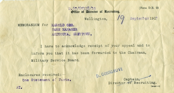 Appeal against conscription from Harold Orr