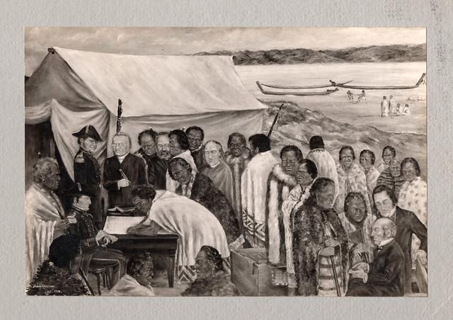 """The Signing of the Treaty of Waitangi"", Ōriwa Haddon"