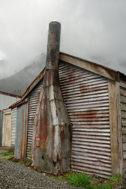 Old house, with metal chimney, Wainihinihi, West Coast, New Zealand