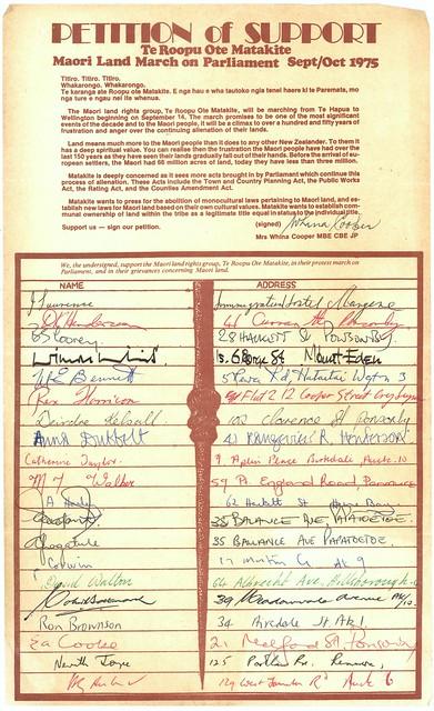 Māori Land March 1975 - Petition Sheet