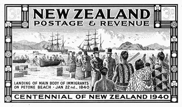 Stamp of NZ Company settlers arriving in Pito-one (Petone), 1840