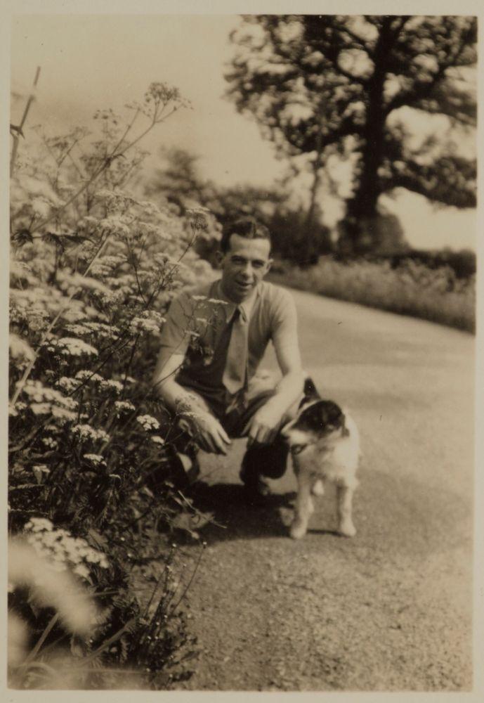 Eric Lee-Johnson and dog, Somerset