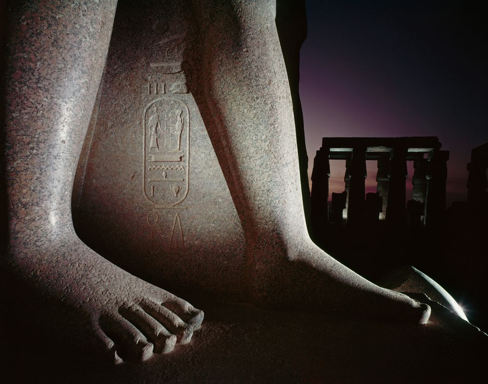 Feet of a statue of Ramses II, Luxor Temple, Thebes, Egypt. From a series on ancient Egypt for 'Life'