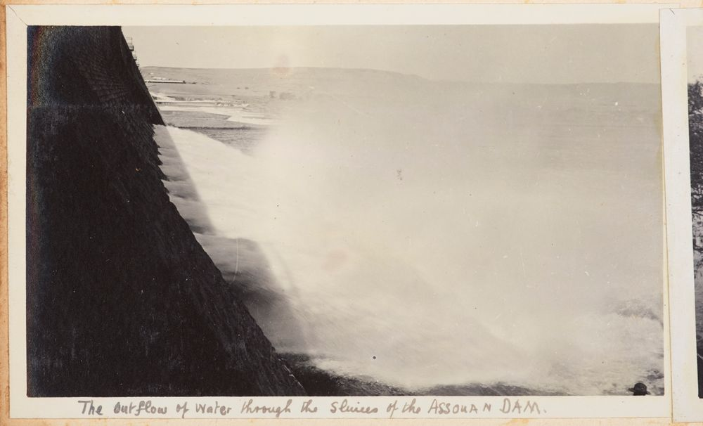 The outflow of water through the sluices of the Assouan Dam. From the album: Photograph album of Major J.M. Rose, 1st NZEF
