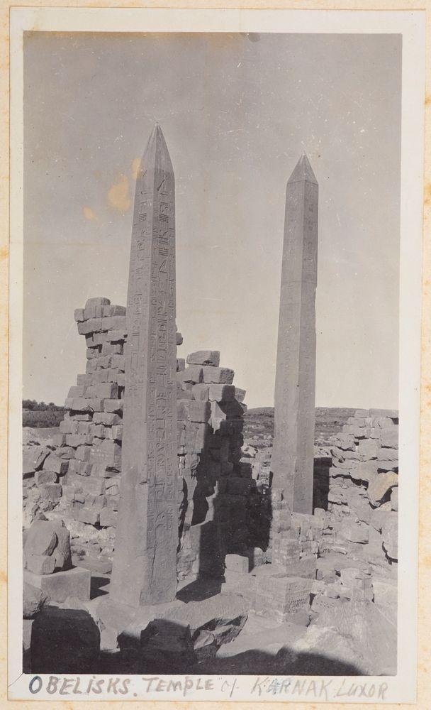 Obelisks, Temple of Karnak, Luxor. From the album: Photograph album of Major J.M. Rose, 1st NZEF