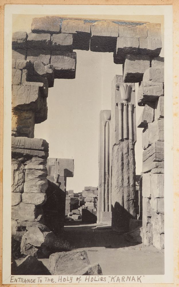 Entrance to the Holy of Holies, Karnak. From the album: Photograph album of Major J.M. Rose, 1st NZEF