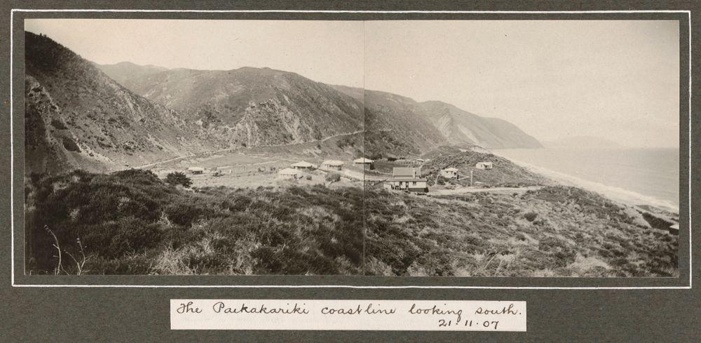 The Paekakariki coastline looking south, 21 November 1907. From the album: Family photographs [1907-1909]