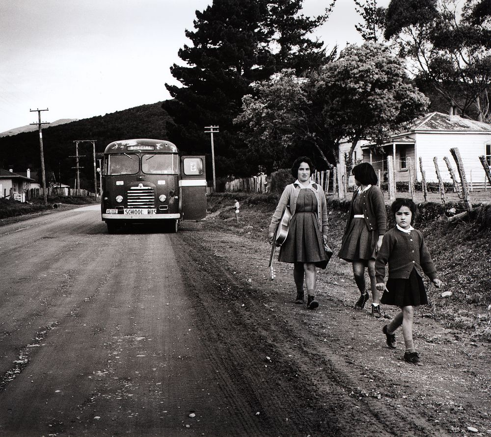 They hear the school bus stop on the road. From the series: Washday at the pa