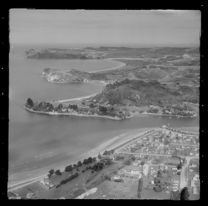 Whitianga Township with Buffalo Beach and Ferry Landing with Maramaratotara Bay beyond, Mercury Bay, Thames-Coromandel District