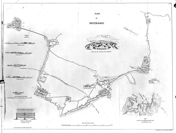 Brooke, E (Capt) (Surveyor and artist) :Lithographed plan of Paterangi Pa
