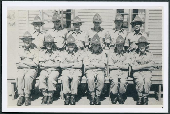 Group portrait of compulsory military trainees, Burnham Military Camp, Christchurch
