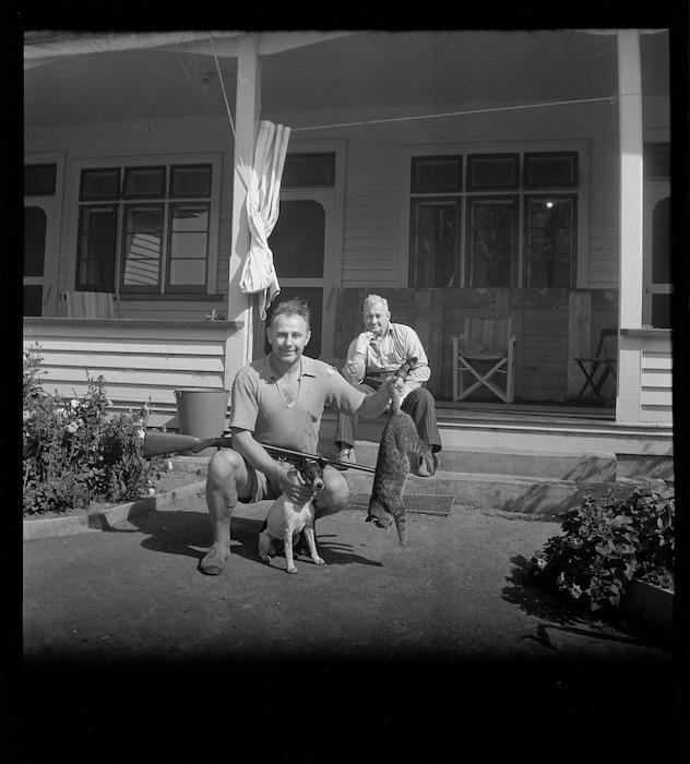 John Sorensen and unidentified man, Raoul Island, Kermadec Islands