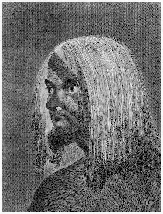 Hodges, William, 1744-1797: Man of the island of Tanna / drawn from nature by W. Hodges ; engrav'd by J Basire London ; [Strahan], 1776