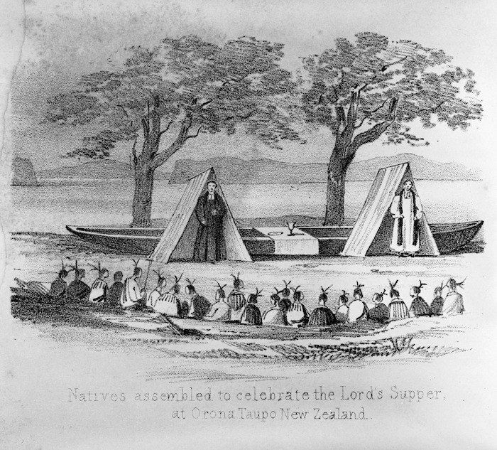 Artist unknown :Natives assembled to celebrate the Lord's Supper at Orona, Taupo, New Zealand. [1845]