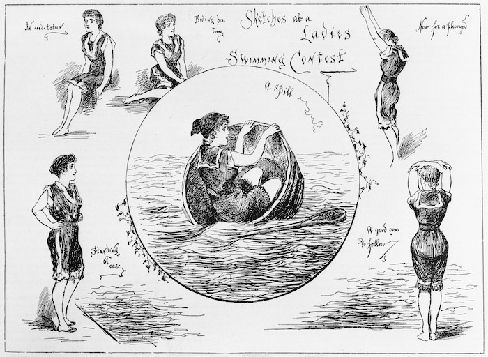 New Zealand Graphic & Ladies Journal :Sketches at a ladies' swimming contest. A spill; In meditation; Biding her time; Now for a plunge; A good one to follow; Standing at ease. [1892]