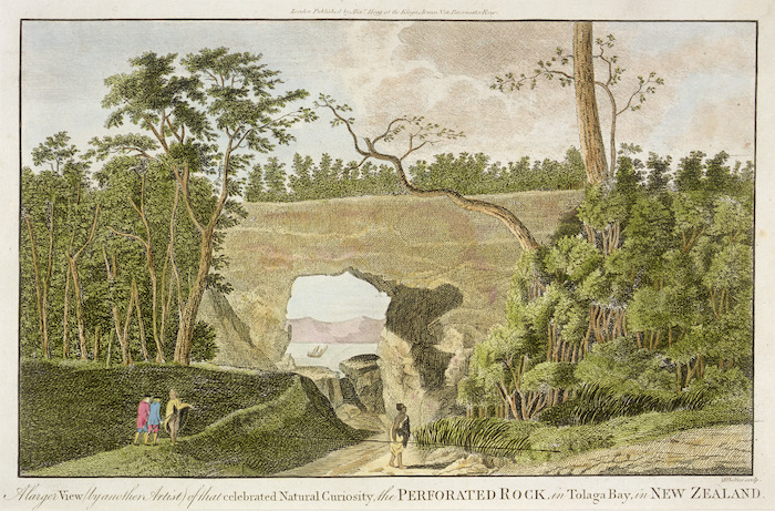 Sporing, Herman, Dietrich, ca 1730-1771 :A larger view (by another artist) of that celebrated curiosity, the perforated rock in Tolaga Bay, in New Zealand. Sibelius sculp. London ; Alexr Hogg [1784?]