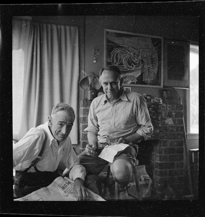 Frank Sargeson and Harry Doyle at Frank Sargeson's bach, Esmonde Road, Takapuna, Auckland
