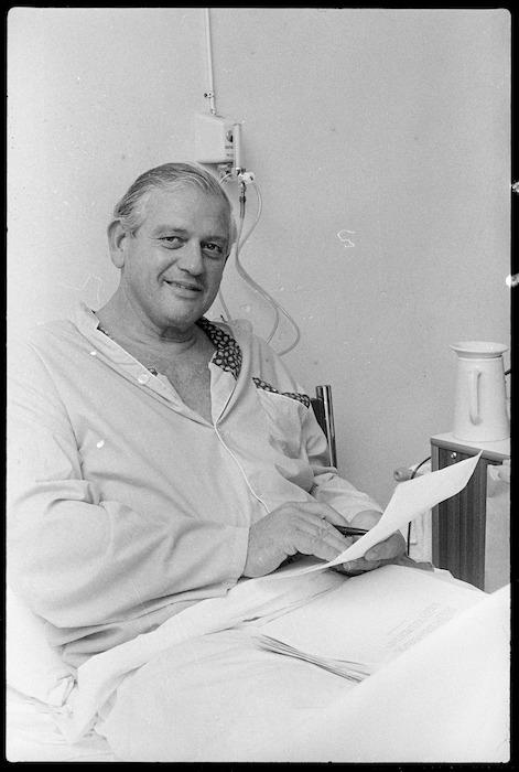 Prime Minister Norman Kirk in Wellington Public Hospital