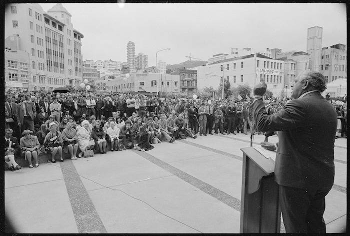 Prime Minister Norman Kirk speaking in Civic Square, Wellington