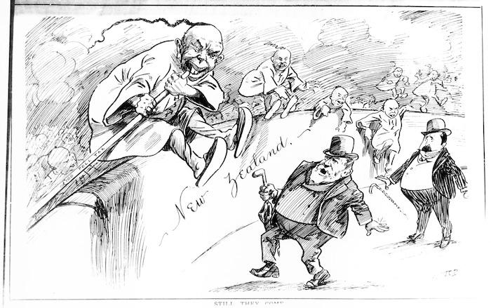 Blomfield, John Collis, 1873-1942 :Still they come. [Wellington, New Zealand Free Lance, 7 January 1905]