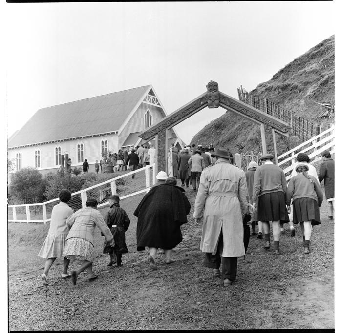 Scenes from the annual reunion of Maori World War I servicemen, Tikitiki Marae, also St Mary's Church, Tikitiki, East Coast