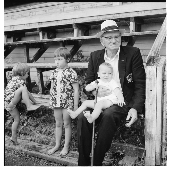 Spectators at the axemen carnival, Hokitika, and a beach on the West Coast, 1971.