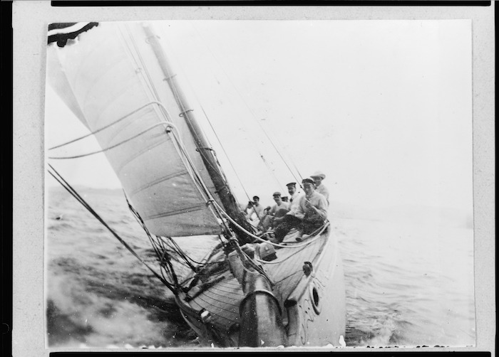 """Alexander Horsburgh Turnbull and others, aboard Turnbull's yacht """"Iorangi"""", by an unidentified photographer"""