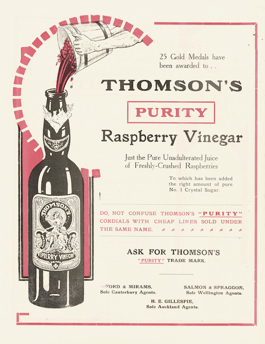 "Thomson & Company (Dunedin) :Thomson's ""Purity"" raspberry vinegar. [ca 1910]"