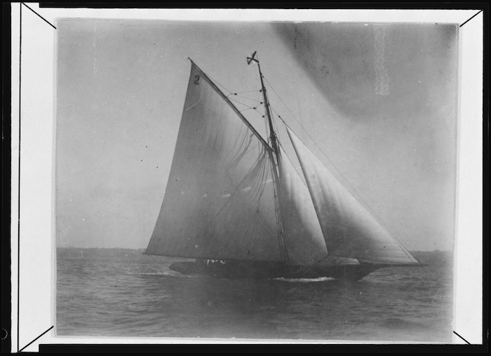 Creator unknown: Photograph of Alexander Turnbull's yacht Rona