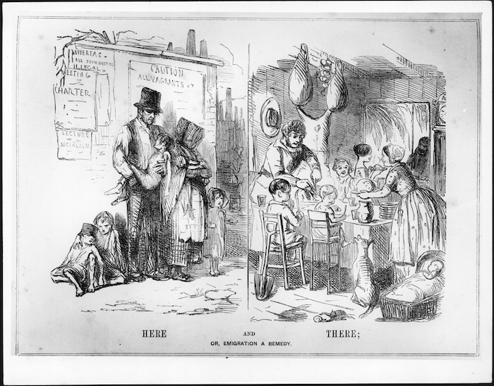 Punch :Here and there; or, emigration a remedy. London, 8 July 1848.