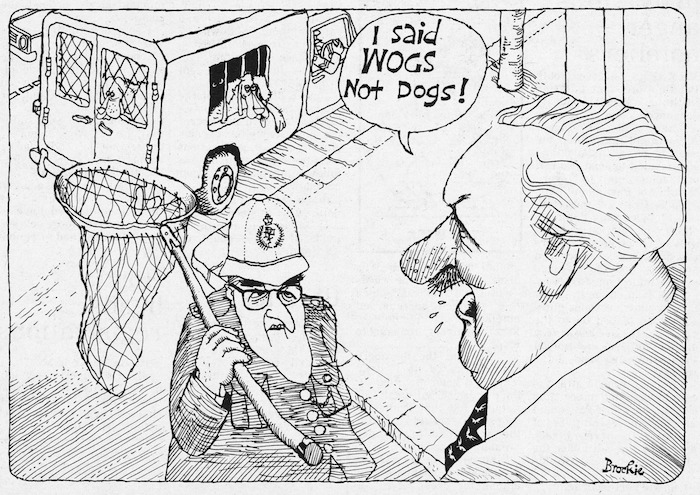 Brockie, Robert Ellison, 1932- :I said WOGS not dogs! National Business Review, 3 November 1976.