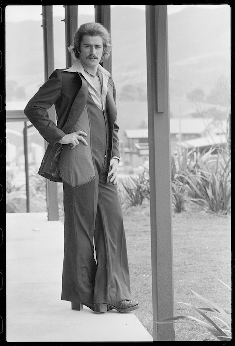 Nick Carr wearing an entry for the 1975 Benson & Hedges Fashion Design award