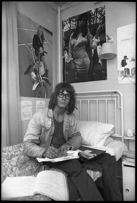 Brian Fowler, university student, at Bowen Hostel, Bowen Street, Wellington