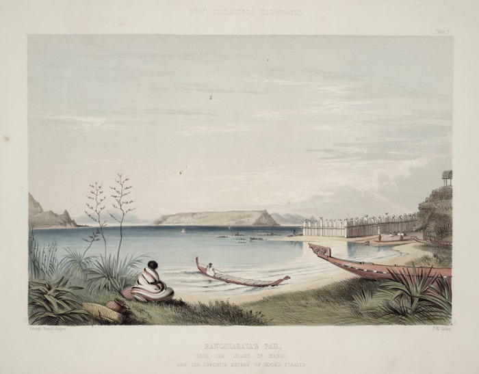Angas, George French 1822-1886 :Rangihaeata's pah with the island of Mana and the opposite shores of Cook's Straits / George French Angas [delt]; J. W. Giles [lith]. Plate 57, 1847.