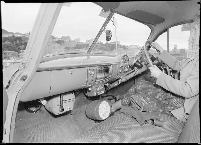 Car interior showing Gulbransen car radios