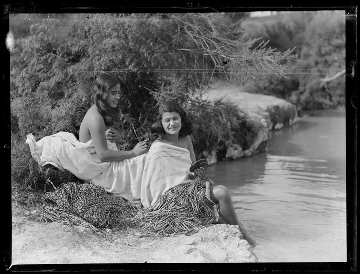 Two Māori women bathing at the river, Waikato