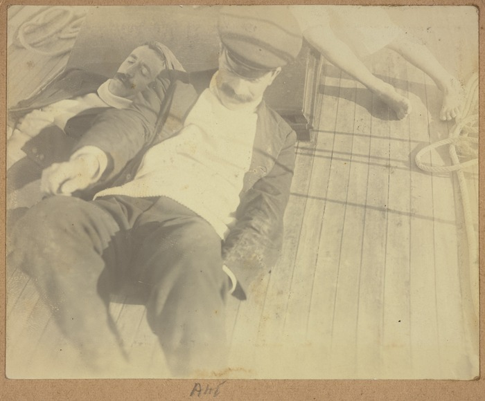 Alexander Horsburgh Turnbull and unknown man on the deck of his yacht