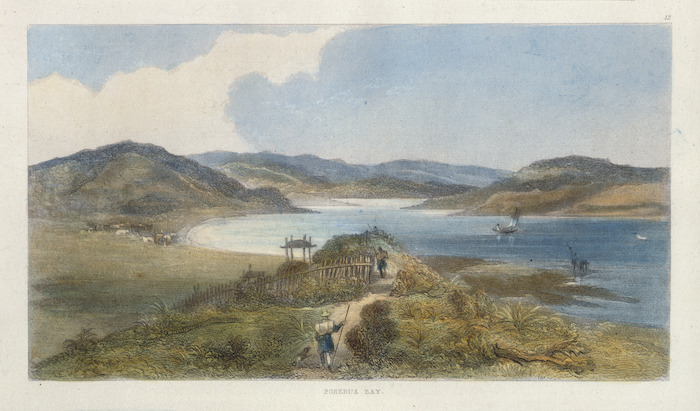 Brees, Samuel Charles, 1810-1865 :Porerua Bay. [Between 1842 and 1845] Engraved by Henry Melville; drawn by S C Brees [London, 1847]