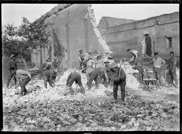 Pioneer Battalion making a road, France