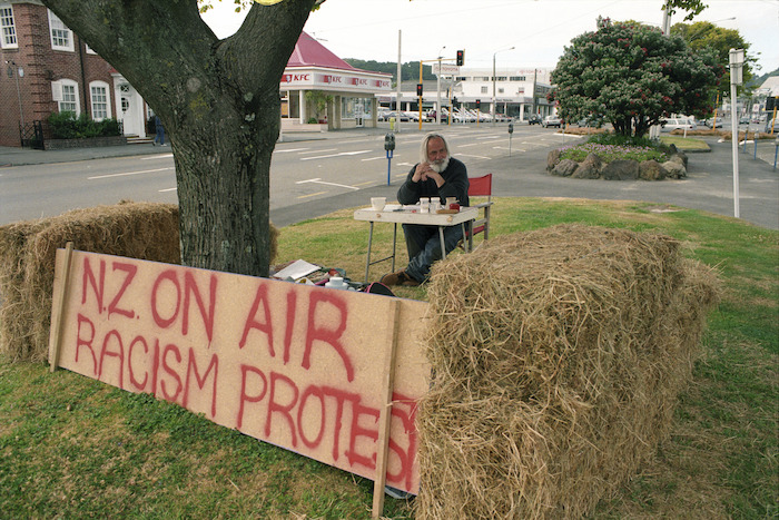 Barry Barclay protesting outside New Zealand on Air office - Photograph taken by Phil Reid