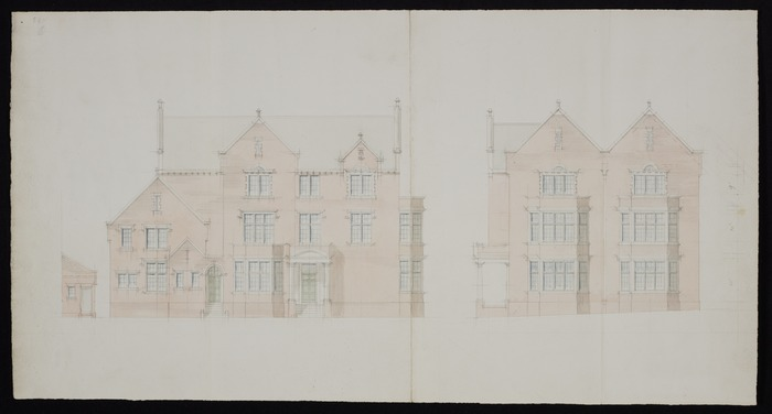 [Thomas Turnbull & Son :Residence Bowen Street for A H Turnbull Esq[uir]e. February 1916. Elevation only in pencil & pale watercolour]