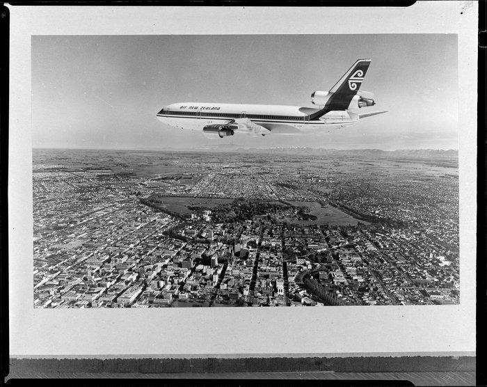 An Air New Zealand DC10 aeroplane over Christchurch