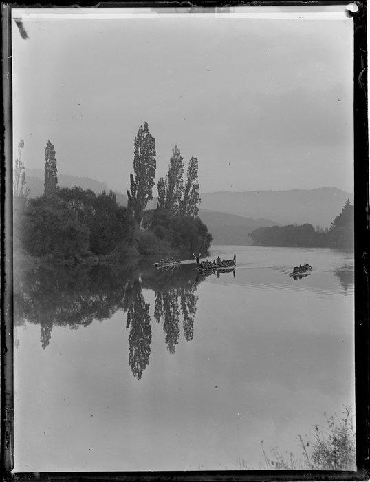 Maori canoes on Waipa River, Waikato