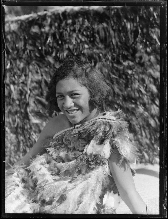 Molly Runga Raukura of Tokaanu dressed in a kahu huruhuru