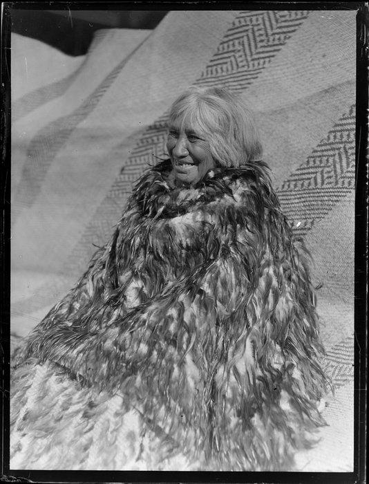 Portrait of Parekura Hoko of Waihi dressed in a kahu huruhuru