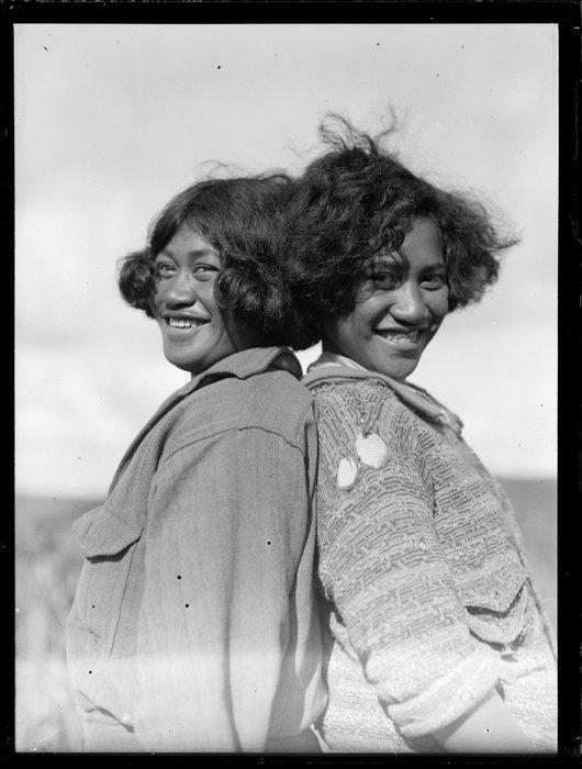 Molly Runga Raukura and an unidentified Māori girl, location unidentified